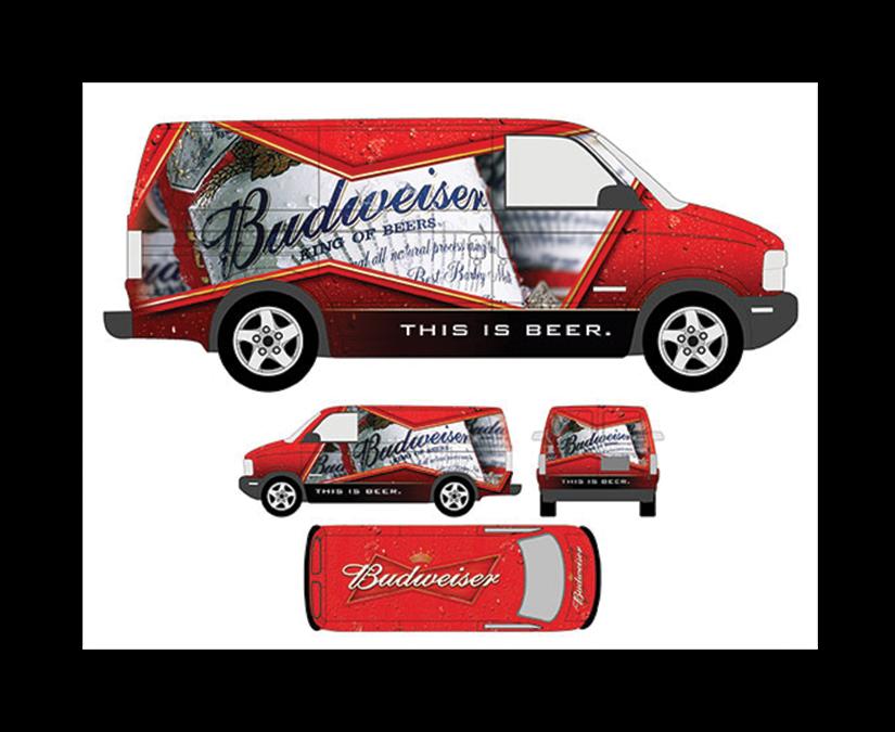 Budweiser Vehicle Wrap by MOTO Marketing Group