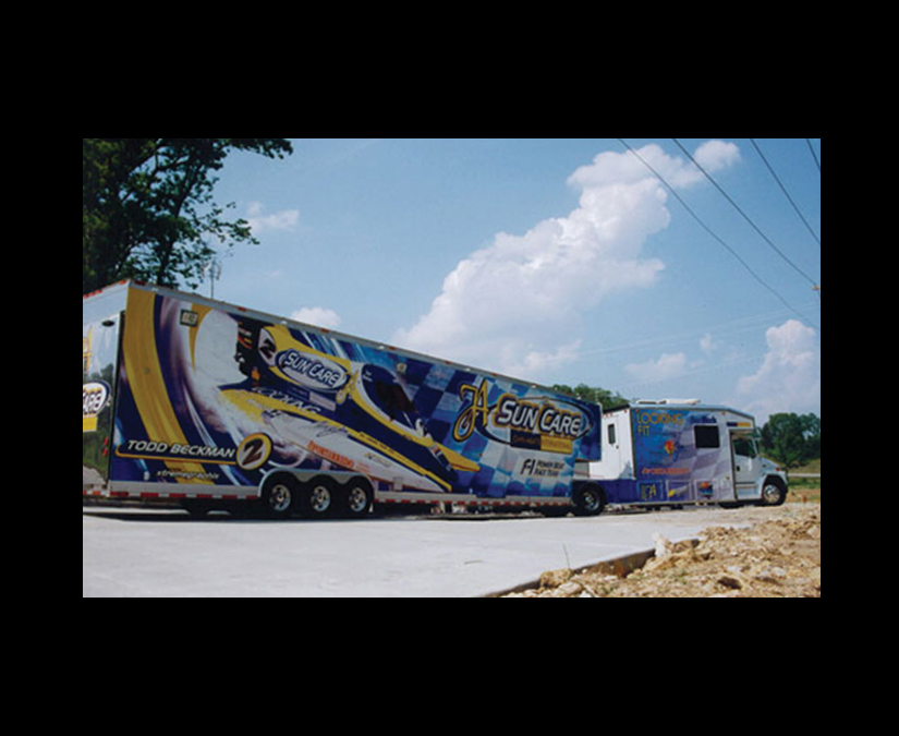 Race F1 Boat Trailer Wrap by MOTO Marketing Group
