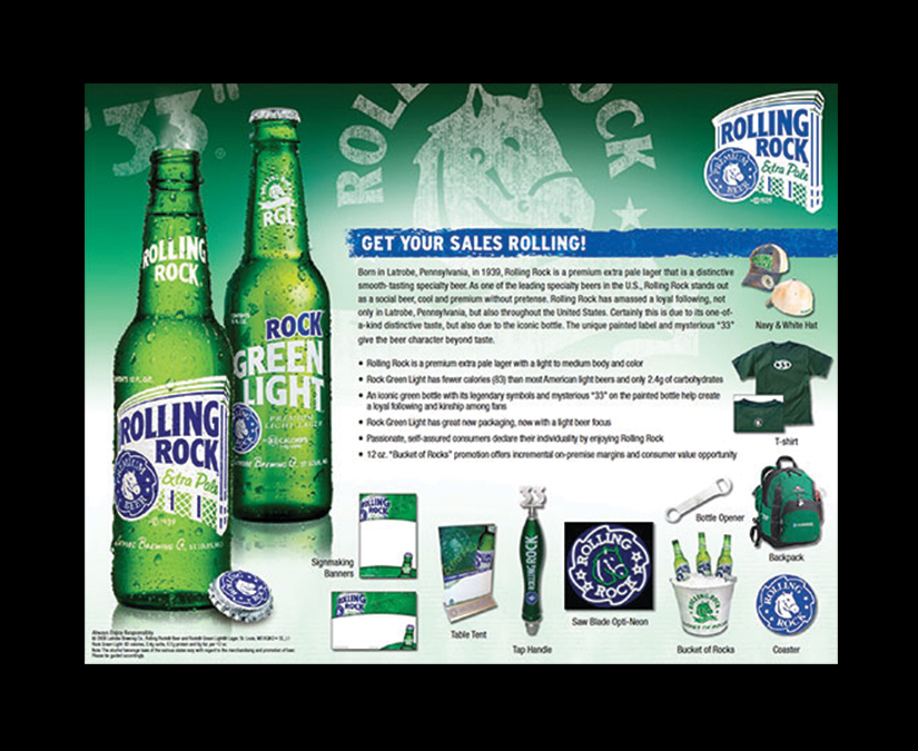 Rolling Rock Sell Sheet by MOTO Marketing Group
